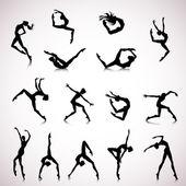 Set of female dance — Stock Vector