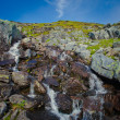 Beautiful vibrant panorama picture with a view on icelandic waterfall in iceland goddafoss gullfoss skogafoss skogarfoss dettifoss seljalandsfoss — Stock Photo #59498829