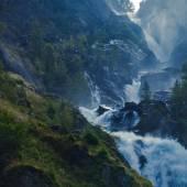 Beautiful vibrant panorama picture with a view on icelandic waterfall in iceland goddafoss gullfoss skogafoss skogarfoss dettifoss seljalandsfoss — Stock Photo