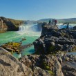 Beautiful vibrant panorama picture with a view on icelandic waterfall in iceland goddafoss gullfoss skogafoss skogarfoss dettifoss seljalandsfoss — Stock Photo #59500051
