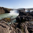 Beautiful vibrant panorama picture with a view on icelandic waterfall in iceland goddafoss gullfoss skogafoss skogarfoss dettifoss seljalandsfoss — Stock Photo #59500101