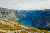 Beautiful norwegian landscape with mountains on the the way to trolltunga — Stock Photo