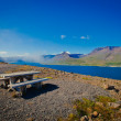 Beautiful view of icelandic fjord isafjordur and city in iceland with red houses, ships and yachts, vestfirdir — Stock Photo #61814293