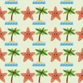 Pattern with cartoon starfish — Vector de stock