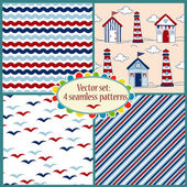Set of seamless pattern with sea illustrations — Cтоковый вектор