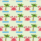 Pattern with cute cartoon crab — Vetorial Stock