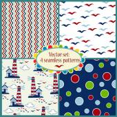 Set of seamless pattern with sea illustrations — Stock vektor