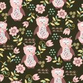 Seamless pattern with owls and flowers — Stok Vektör
