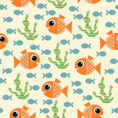 Pattern with cartoon fish and algae — Stock Vector