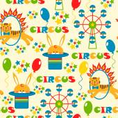 Pattern with cute circus animals — Stock Vector