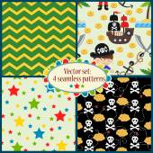 Pattern with cartoon pirates illustrations — Stock vektor