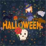 Bright postcard on Halloween in cartoon style. vector — Stock Vector #55697913