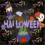 Bright postcard on Halloween in cartoon style. vector — Stock Vector #55697949