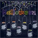 Bright postcard on Halloween in cartoon style. vector — Stock Vector #55698305