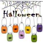 Bright postcard on Halloween in cartoon style. vector — Stock Vector #55698325