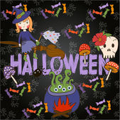 Bright postcard on Halloween in cartoon style. vector — Stock Vector