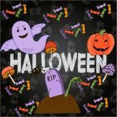 Яркая открытка на Хэллоуине в мультипликационном стиле. вектор — Cтоковый вектор