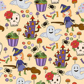 Bride Halloween vector seamless patterns. Endless texture can be used for wallpaper, pattern fills, web page,background — Wektor stockowy