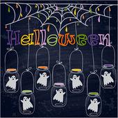 Bright postcard on Halloween in cartoon style. vector — Stock Vector