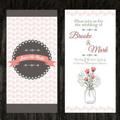 Wedding invitation in vintage style. bright retro ornament is perfect for the original design of wedding cards, invitation to a party or a greeting card. vector — Διανυσματικό Αρχείο