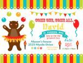 Circus party card design — Stock Vector