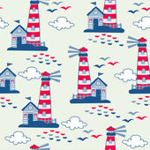 Seamless pattern with lighthouses — Stockvektor