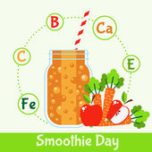 Smoothie with fruits and vegetables — Stock Vector