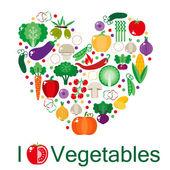 Heart shaped vegetables set — Stock Vector