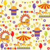 Seamless pattern with circus animals — Stock Vector
