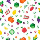 Pattern with vegetables and fruits — Stock Vector
