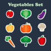 Set of vegetable stickers — Stock Vector