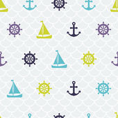 Chic navy seamless pattern (tiling): ships, anchors and helm. — Stock Vector