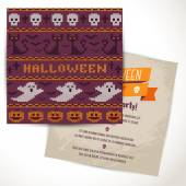 Halloween two sides poster or flyer.  — Stock Vector