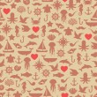 Vintage seamless pattern (tiling) of marine symbols with hearts. — Stock Vector #53049899