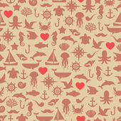 Vintage seamless pattern (tiling) of marine symbols with hearts. — Stock Vector