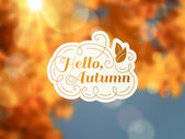 Autumn background with vintage label and sun beam. — Stock Vector