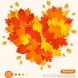 Autumn design with colorful leaves formed heart. — Stock Vector #54403941