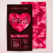 Wedding invitation cards template with abstract polygonal heart. — Stock Vector