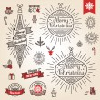 Christmas set. Labels, emblems and other decorative elements in vintage style. — Stock Vector #54966957