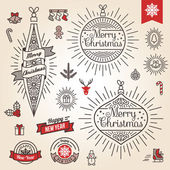 Christmas set. Labels, emblems and other decorative elements in vintage style. — Stock Vector