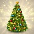 Christmas tree with colorful baubles and gold star on the top. — Stock Vector #55496571