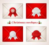 Set of Christmas envelope icons with red and white wax seals. — Stock Vector