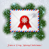 Christmas white envelope with red wax seal and postal stamp. — Stock Vector