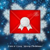 Christmas red envelope with white wax seal. — Stock Vector
