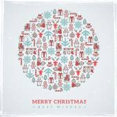 Vintage Christmas elements formed circle. Vector illustration. — Stock Vector