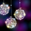 Happy New Year 2015 sparkling colorful ornament design. — Stock Vector #55963275
