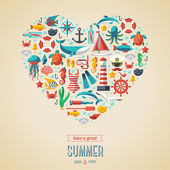 Summer concept. Flat icons arrange in the form of heart. — Stock Vector