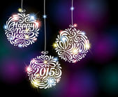 Happy New Year 2015 sparkling colorful ornament design. — Stock Vector