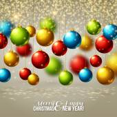 Christmas background with colorful balls. Vector illustration. — Stock Vector