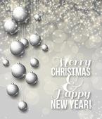 Elegante glanzende Kerstmis achtergrond met kerstballen en plaats voor tekst. — Stockvector